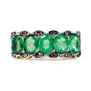 Antique Victorian 1.30ct Emerald and Diamond Five Stone Ring