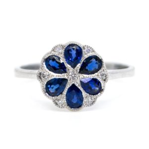 Art Deco Style 0.40ct Sapphire and Brilliant Cut Diamond Ring