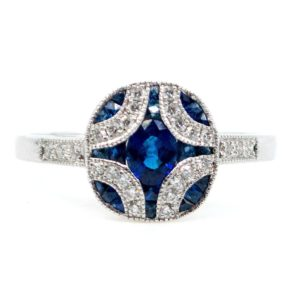 Art Deco Style Sapphire and Brilliant Cut Diamond Ring