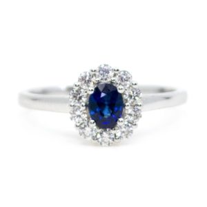 Edwardian Style Sapphire and Diamond Cluster Ring