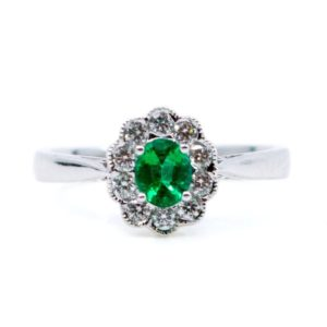 Victorian Style 0.42ct Emerald and Brilliant Cut Diamond Cluster Ring