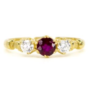 Vintage Ruby and Diamond Three Stone Ring