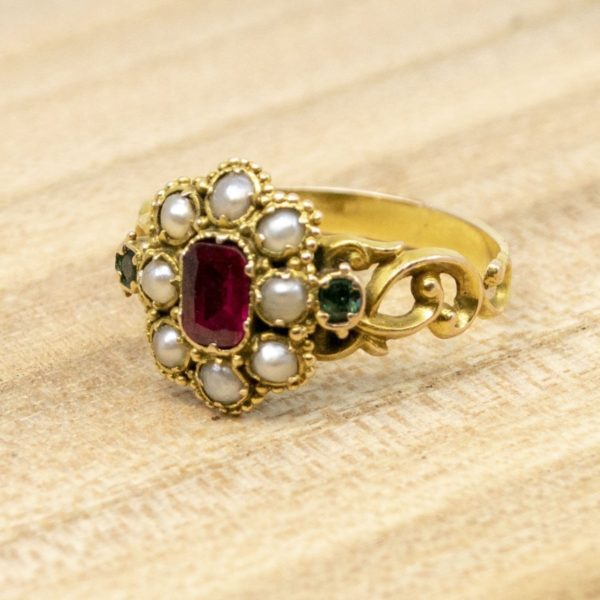 Antique Georgian Ruby, Pearl and Emerald Ring