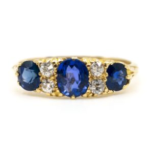Antique Victorian Sapphire and Diamond Ring
