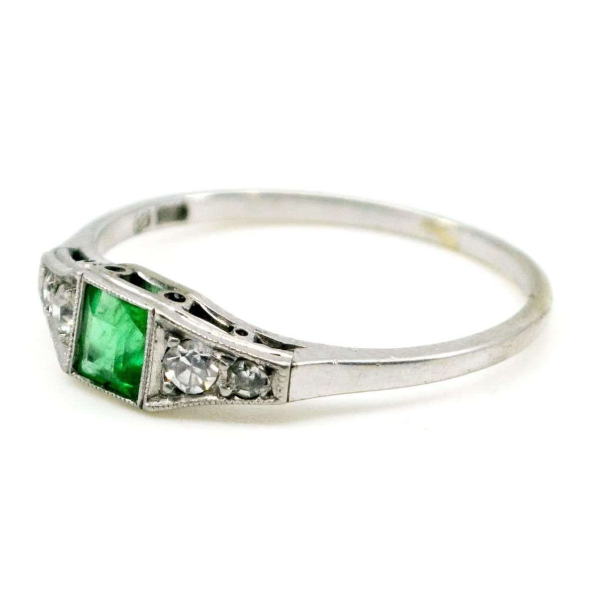 Antique Art Deco Emerald and Diamond Ring — Jewellery ...  Antique Art Dec...