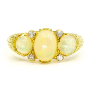 Antique Victorian Opal and Diamond Ring