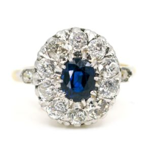Antique Victorian Sapphire and Diamond Cluster Ring