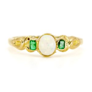 Antique Art Nouveau Opal and Emerald Ring