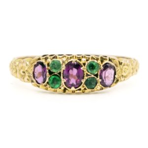 Antique Victorian Amethyst and Emerald Ring
