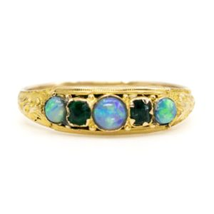 Antique Victorian Emerald and Opal Five Stone Ring