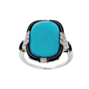 Art Deco turquoise enamel diamond ring cocktail 1925 natural turquoise with a border of black enamel