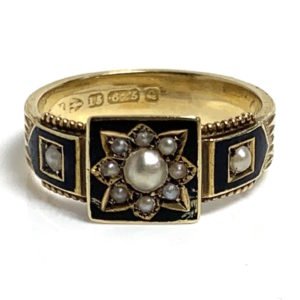 Victorian black enamel pearl star mourning ring 1892 Antique Jewellery