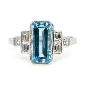 Aquamarine and Diamond Dress Ring Art Deco baguette cut diamonds in 18ct white gold