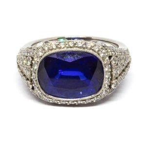8.64ct Cushion Cut Sapphire and Diamond Ring