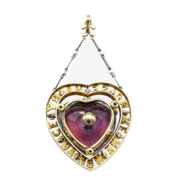 Amethyst suffragette-pendant diamond back