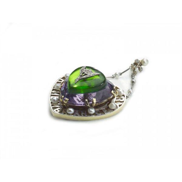 Amethyst suffragette-pendant green white purple