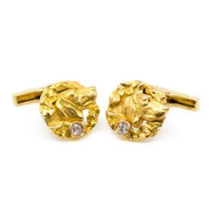 Antique Art Nouveau Gold Dog Cufflinks BB1