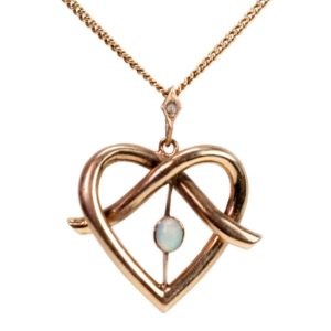 Antique Edwardian Heart Opal and Gold Pendant