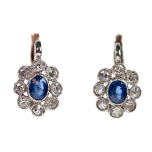 Antique Style Diamond and Sapphire Platinum Earrings