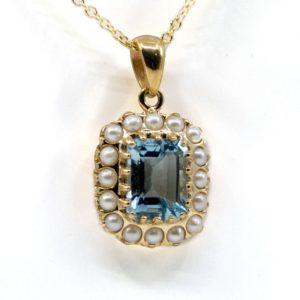 Antique Style Pearl and Topaz Gold Pendant