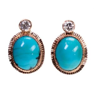 Antique Turquoise and Diamond Gold Earrings