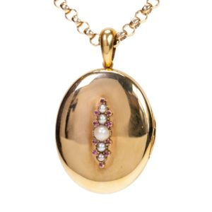 Antique Victorian Pearl and Ruby Gold Pendant Locket BB1