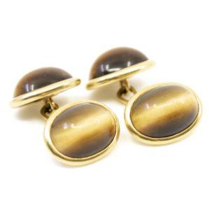 Antique Victorian Tiger's Eye Gold Cufflinks BB1