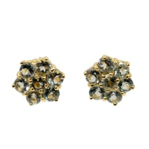 Aquamarine and Gold Cluster Stud Earrings