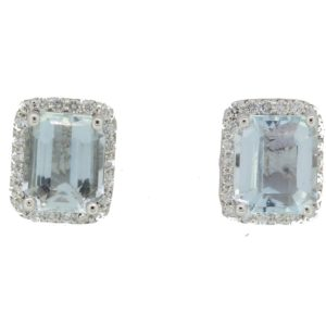 Princess cut Aquamarine and Diamond Cluster Earrings, stamped 750