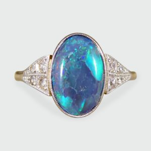 Art Deco Black Opal Ring in 18ct Gold