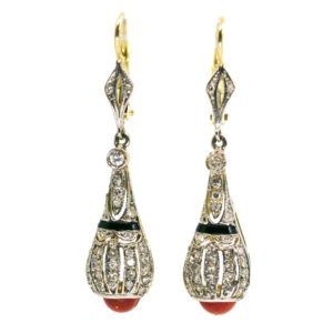 Art Deco Coral, Diamond and Onyx Gold Earrings 1