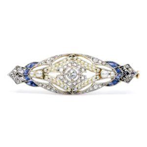 Art Deco Diamond, Pearl and Sapphire Brooch
