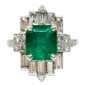 Art Deco Emerald and Diamond Ring, 2.38 carat emerald, set in Platinum