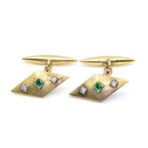 Art Deco Emerald and Old Mine Cut Diamond Cufflinks BB1