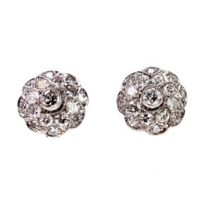 Art Deco Style Diamond and Platinum Cluster Earrings