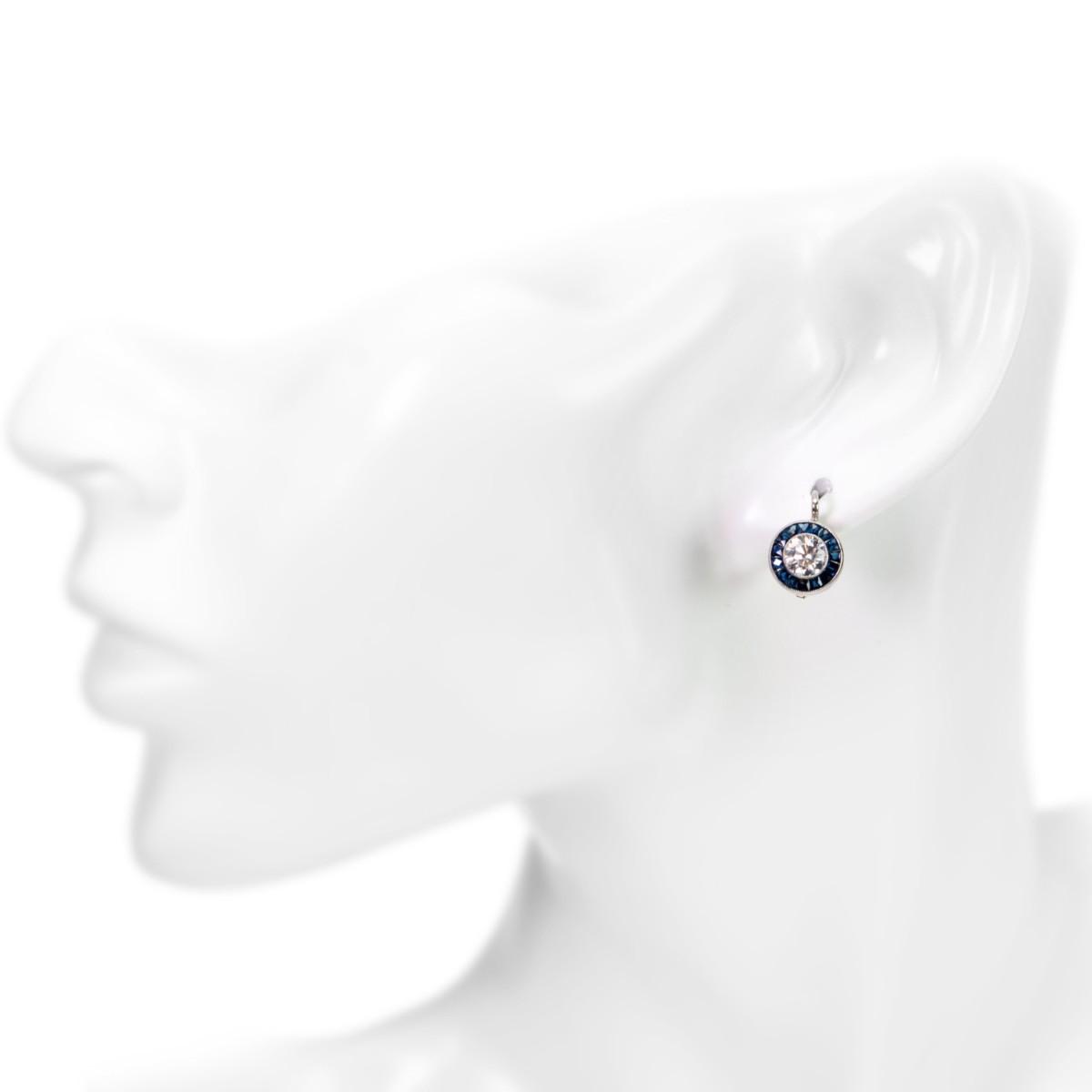 Art Deco Style Target Sapphire and Diamond Platinum Earrings