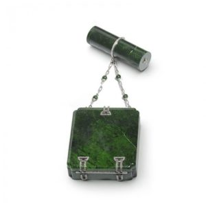 Art Deco chloromelanite jade, gold and diamond vanity case and lipstick holder by Marchak MO1