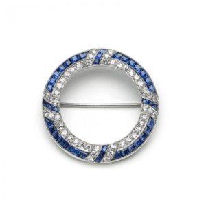 BAILEY BANKS & BIDDLE ART DECO SAPPHIRE DIAMOND AND PLATINUM CIRCLE BROOCH MO1