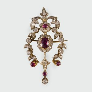 Antique Victorian 2.20ct Ruby and Diamond Brooch