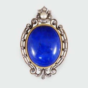 Antique Victorian Lapis Lazuli and Pearl Brooch