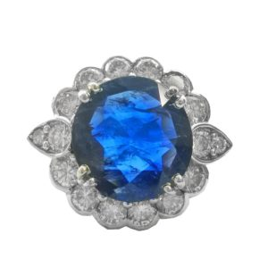 Burmese Sapphire and Diamond Cluster Ring, totalling 6.99 carats, set in 18ct white gold