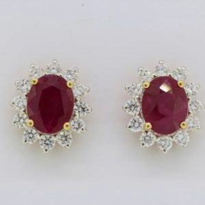 Classic Ruby and Diamond Cluster Earrings, gemstones totalling 4.50 carats (rubies 3.34ct, diamonds 1.16ct)