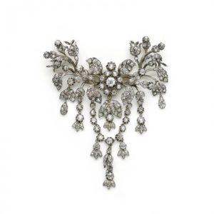 DIAMOND AND SILVER FLOWER SPRAY SWAG BROOCH MO1