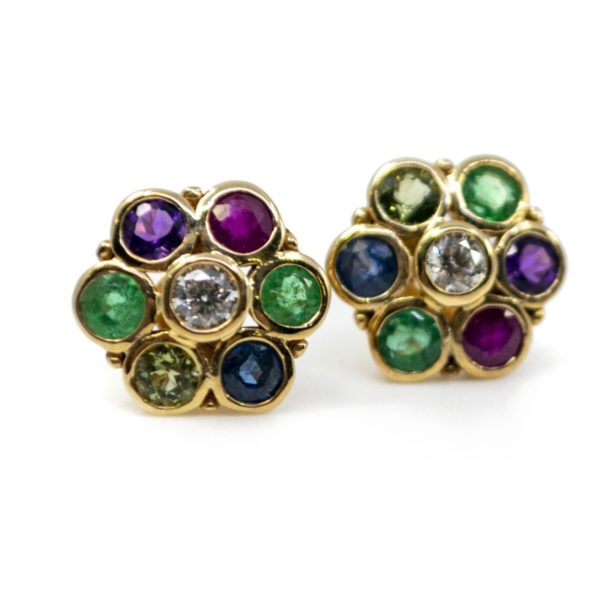 'Dearest' Gemstone Gold Earrings