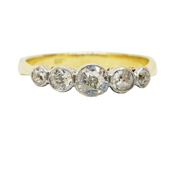 Diamond, Five Stone Graduated Ring, diamond weight totalling 0.55 carats, set in 18ct yellow gold