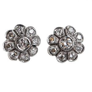 Diamond Floral Cluster Stud Earrings