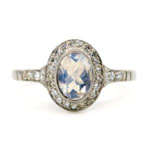 Diamond and Moonstone Platinum Ring