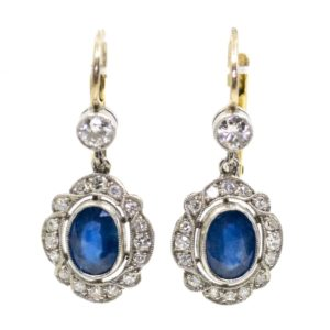 Diamond and Sapphire Cluster Drop Earrings