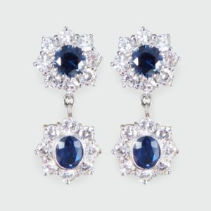 2.40ct Sapphire and Diamond Cluster Drop Earrings