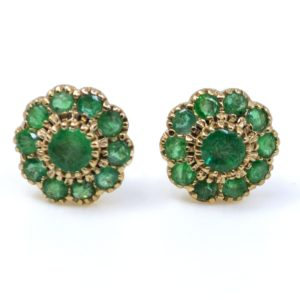 Emerald and Gold Cluster Earrings